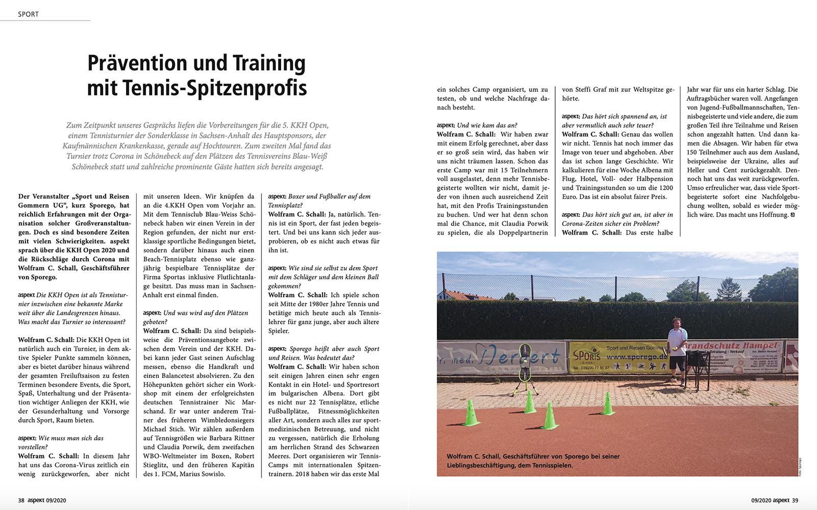 Bericht im Aspekta-Magazin vom September 2020
